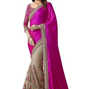 Rani Pink Georgette Net Satin And Silk Saree With Blouse