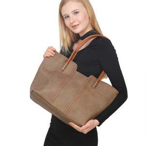 Khaki PU Zipper Shoulder Bag For Women