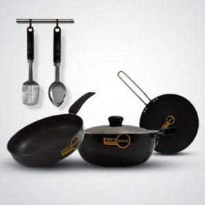 6 pcs Induction Base Hard Anodised Cookware Set