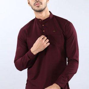 Driftwood Men Solid Maroon Casual Shirt