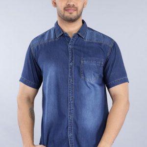 Driftwood Men Washed Dark Blue Casual Shirt