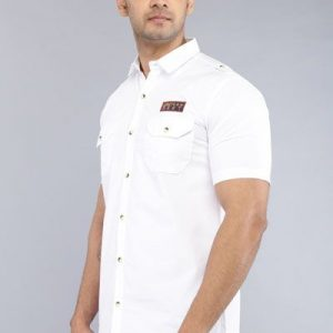 Driftwood Men Solid White Casual Shirt