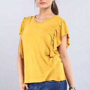 Mavie Women Solid Gold Yellow Top