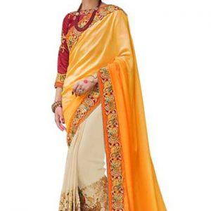 Buy Nylon Silk With Padding Georgette Off White & Yellow Heavy Saree