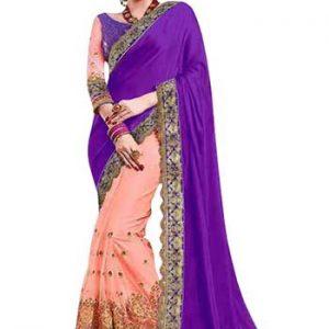 Buy Purple & Peach Silk With Jacquard Replica Saree