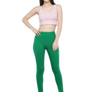 Dark-Green Color 4 Way Cotton Lycra Ankle length Leggings