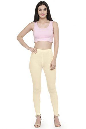 Off-White Color 4 Way Cotton Lycra Ankle length Leggings