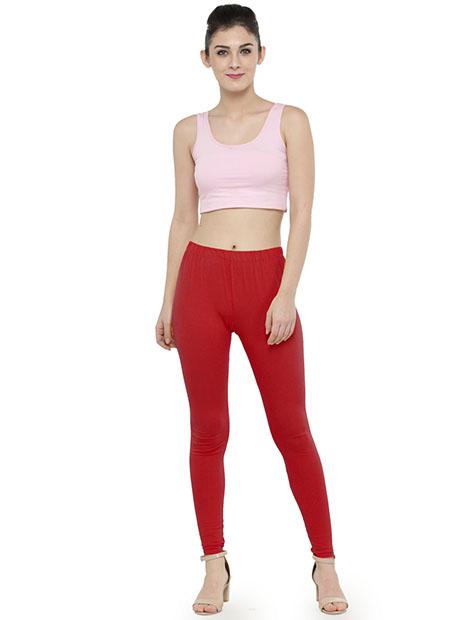 Maroon Color 4 Way Cotton Lycra Ankle length Leggings