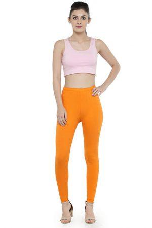Orange Color 4 Way Cotton Lycra Ankle length Leggings