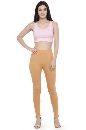Beige Color 4 Way Cotton Lycra Ankle length Leggings