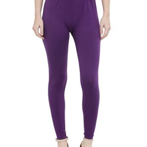 Purple Color 4 Way Cotton Lycra Ankle length Leggings