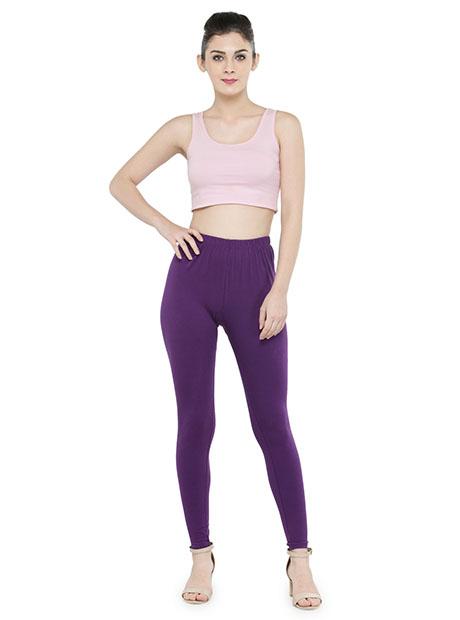 Purple Color 4 Way Cotton Lycra Ankle length Leggings