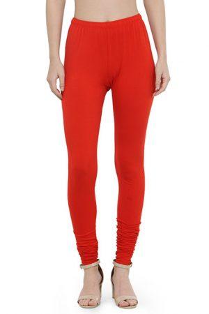 Red Color 4 Way Cotton Lycra Churidar Leggings