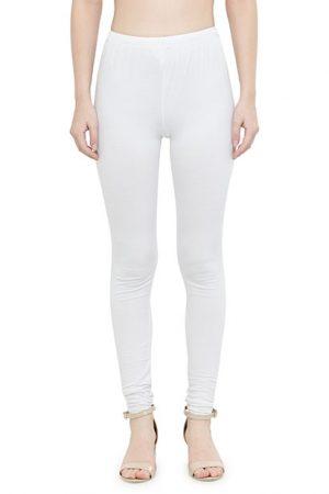 White Color 4 Way Cotton Lycra Churidar Leggings