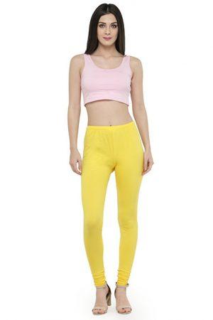Yellow Color 4 Way Cotton Lycra Churidar Leggings