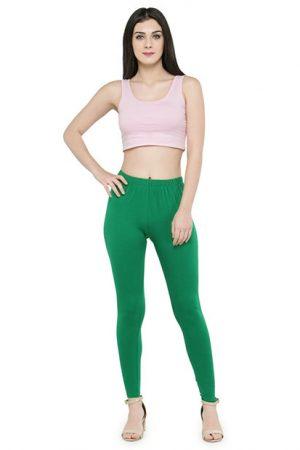 Dark-Green Color 4 Way Cotton Lycra Churidar Leggings