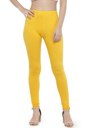 Mustard Color 4 Way Cotton Lycra Churidar Leggings