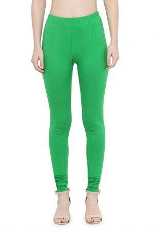 Green Color 4 Way Cotton Lycra Churidar Leggings