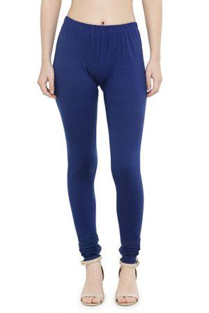 Blue Color 4 Way Cotton Lycra Churidar Leggings