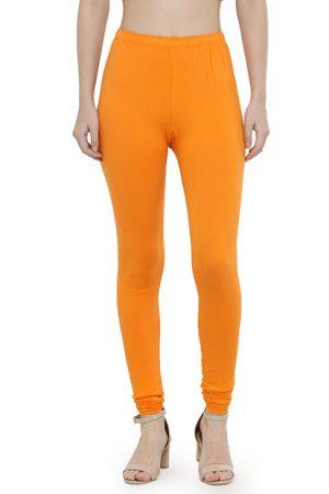 Orange Color 4 Way Cotton Lycra Churidar Leggings
