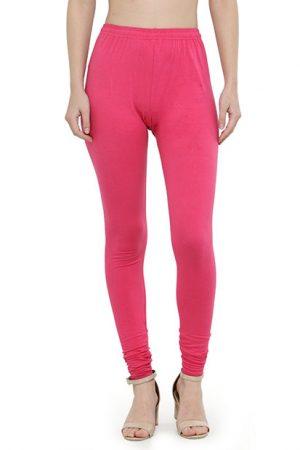 Pink Color 4 Way Cotton Lycra Churidar Leggings