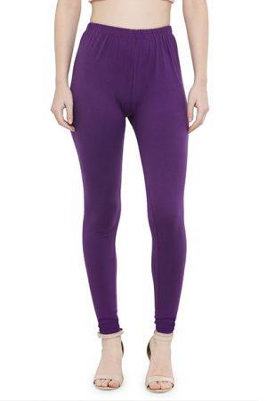 Purple Color 4 Way Cotton Lycra Churidar Leggings
