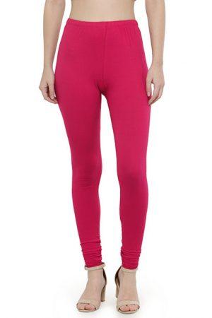 Fuschia Color 4 Way Cotton Lycra Churidar Leggings