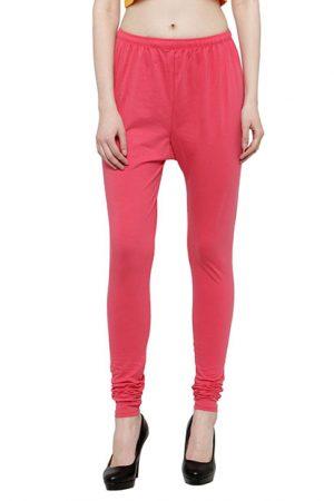 Dark-Pink Color 4 Way Cotton Lycra Churidar Leggings