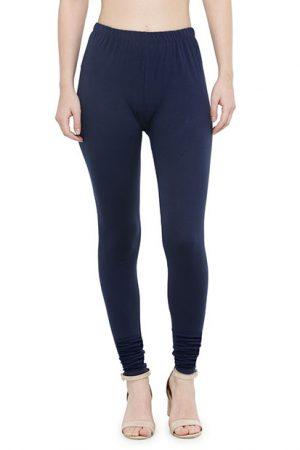 Dark-Blue Color 4 Way Cotton Lycra Churidar Leggings