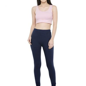 Dark-Blue Color 4 Way Cotton Lycra Churidar Leggings