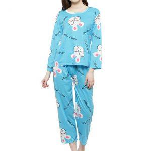 Blue Color Women Blue White Printed Nightwear Pajama Loungewear Set