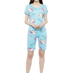 Blue Color Women Blue White Printed Nightwear Top and 3/4 Pajama Loungewear Set