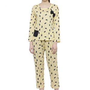 yellow Color Women Yellow Black Printed Nightwear Pajama Loungewear Set