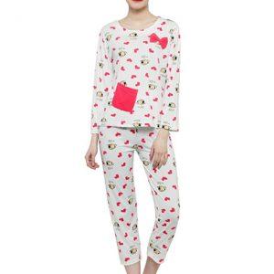 White Color Women Red White Printed Nightwear Pajama Loungewear Set