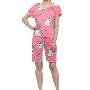 Pink Color Women Pink Printed Nightwear Top and 3/4 Pajama Loungewear Set