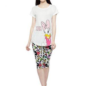 White Color Women Printed Nightwear Top and 3/4 Pajama Loungewear Set