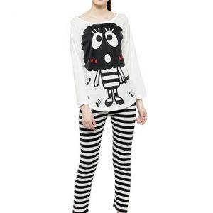 White Color Women Black White Printed Nightwear Pajama Loungewear Set