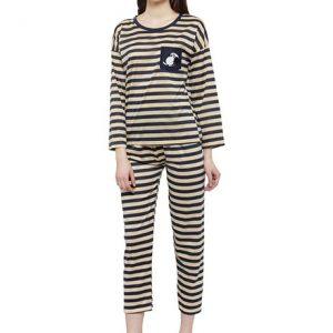 Blue Color Women Blue Beige Printed Nightwear Pajama Loungewear Set