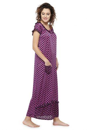 Purple Color Women'S Polka Dot Long Nighty