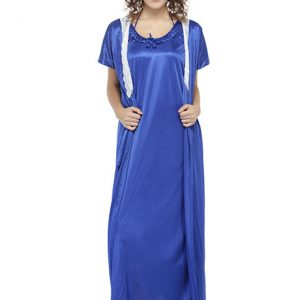 Blue Color Women'S 7 Pcs Nightwear Set With Footwear