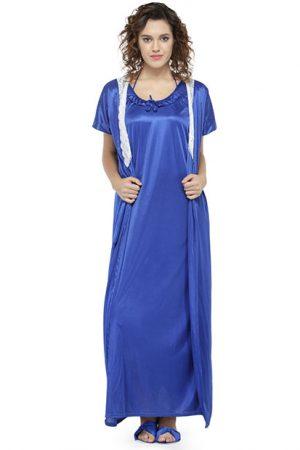 Blue Color Women'S 7 Pcs Nightwear Set With Footwear