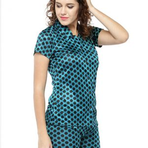 Green Color Women Sleep Shirt with Shorts with Polka Dot Print