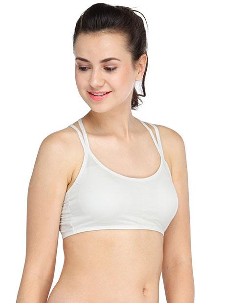 White Color Cross Back Women T-Shirt Bra