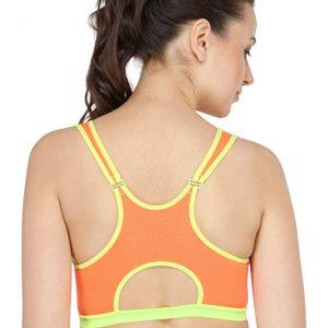 Orange Color Cut Out Back Sports Bra