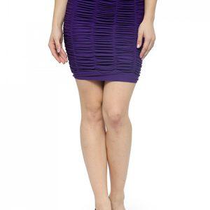 Purple Color Thick Fold Strap Mini Skirt