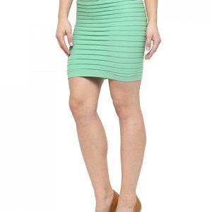 Light Green Color Thick Fold Strap Mini Skirt