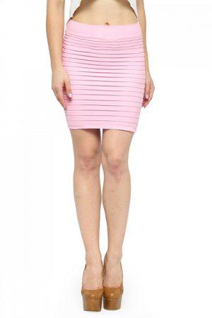 Light Pink Color Thick Fold Strap Mini Skirt