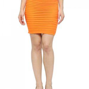 Orange Color Thick Fold Strap Mini Skirt