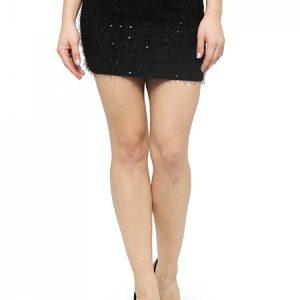 Black Color Plush Elasticity Sequins Mini Skirt
