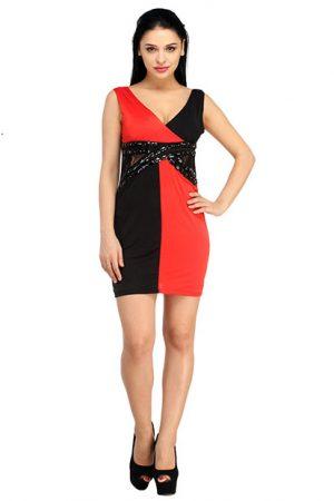 Black-Red Color Elegant Cocktail Net Waist Designer Dress